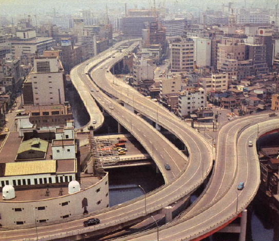 The newly constructed Edobashi interchange, 1964.