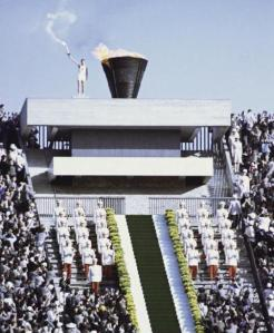 Sakai lights the Olympic Flame