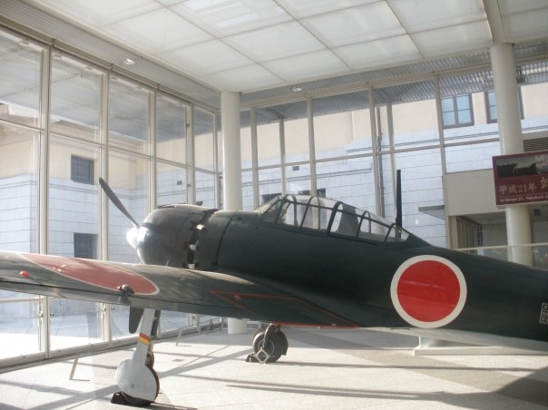 The Mitsubishi Zero which stands in the entrance of the Yushukan War Museum.