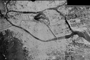 An aerial photograph of Tokushima City taken by U.S. forces the day after the air raid, 5th July 1945.