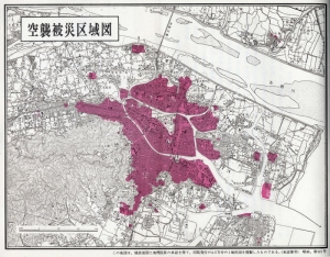 A map showing the extent of the bombing.