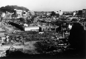 The scene of devastation in Teramachi, the temple area.