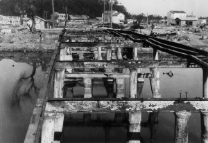 The ruins of Shinmachi Bridge.