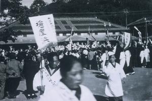 Waving off the troops at Tokushima Station.