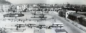 Full service is resumed at Tokushima Station (1960).